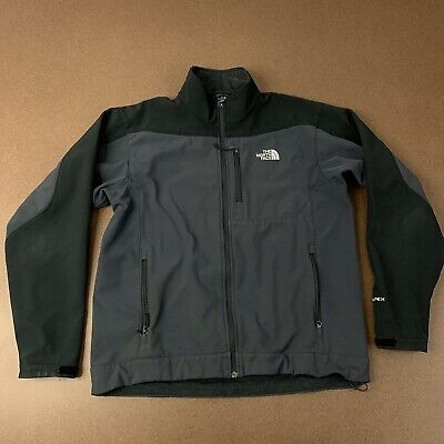 The North Face Mens Large Gray & Black Full Zip Soft Shell Jacket TNF Apex