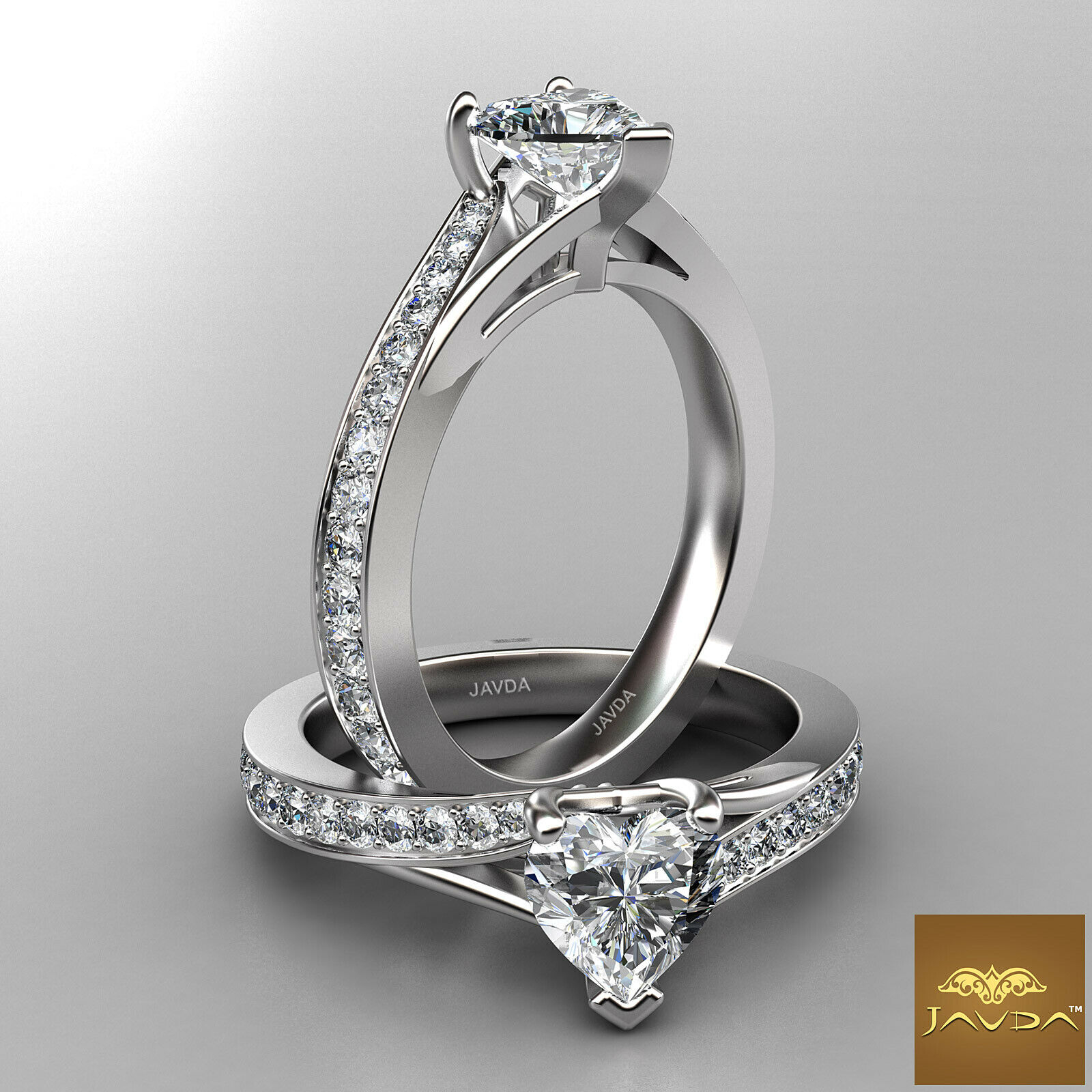 Split Shank Pave Set Side Stone Heart Diamond Engagement Ring GIA G SI1 1.42Ct