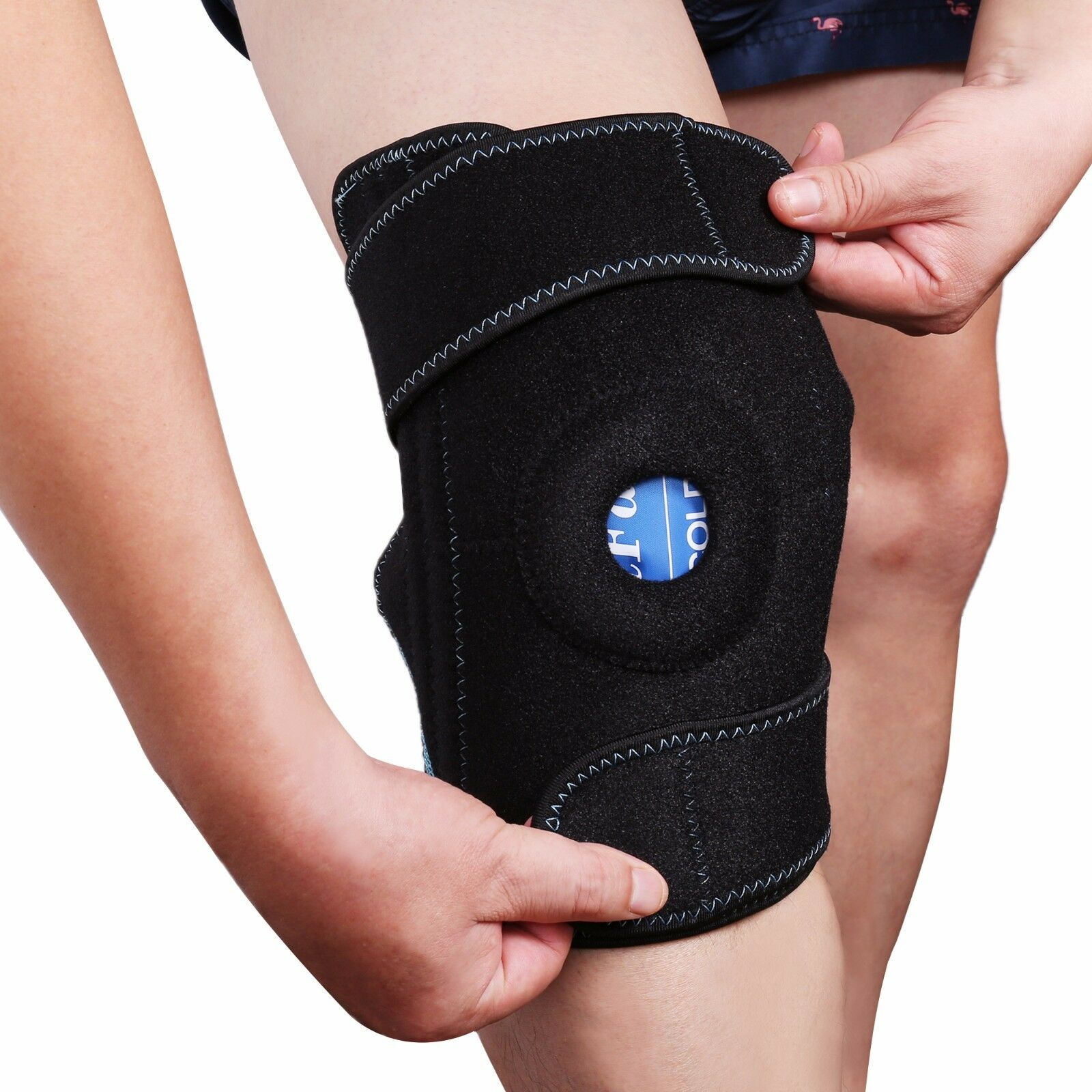 Knee Support Sleeve Wrap Leg Brace for Cold Hot Gel Pack Hea