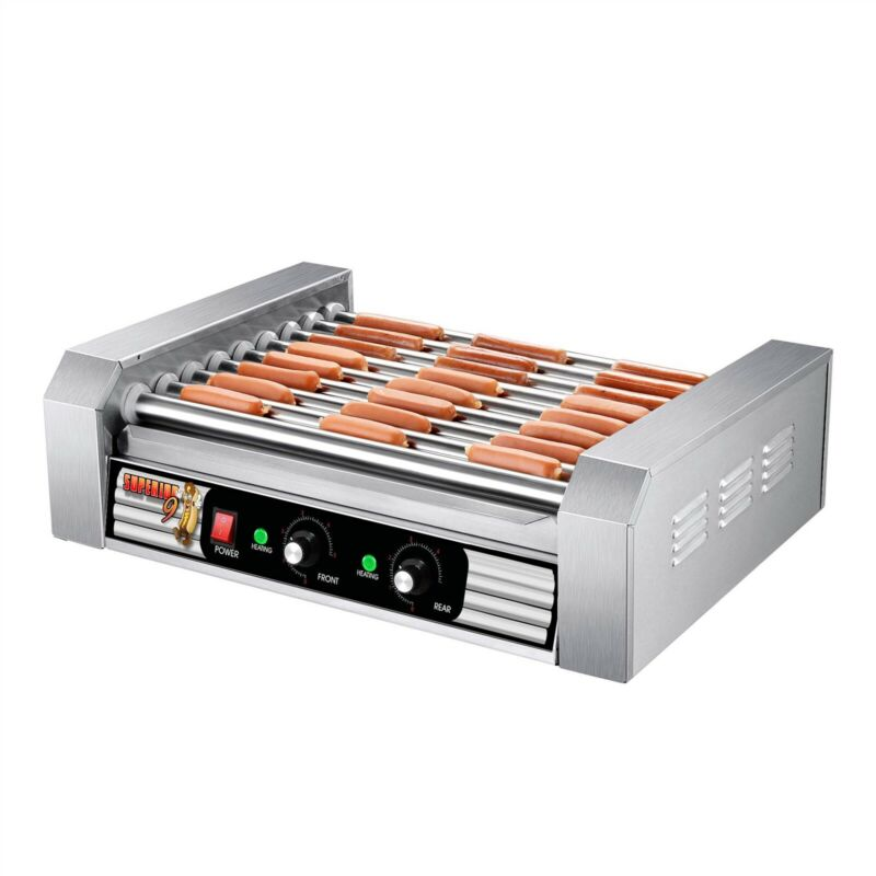 Stainless Steel Electric Commercial 24 Hot Dog 9 Roller Grilling Machine
