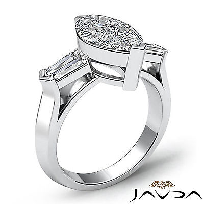 Classic Marquise Cut 3 Stone Diamond Engagement Ring GIA F SI1 Platinum 1.5 ct 1