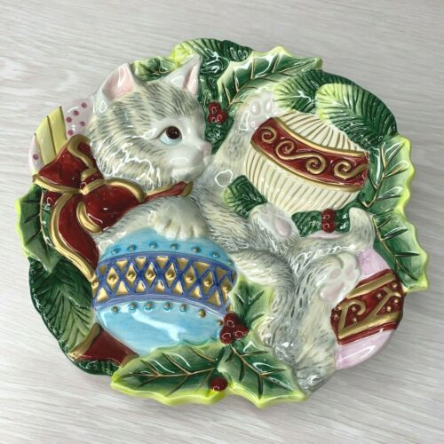 Fitz and Floyd Kristmas Kitty Christmas Holiday Canape Plate - New In Box!
