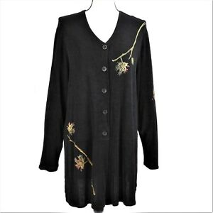 Bread Staley Gretzinger Cardigan Black Art to Wear Long No Iron Size 2 Large