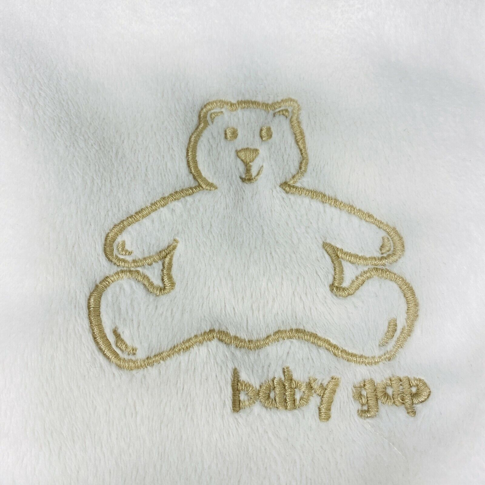 Baby Gap Off White Blanket Embroidered Brannan Bear Sherpa Lovey Security 2017 - $43.99
