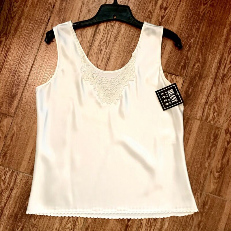 Meant To Be Seen Vintage 1980's Sears Ivory Lace V Neck Camisole Size 34 New