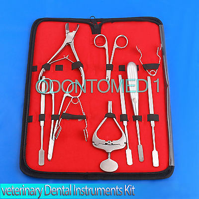 10 X Veterinary Dental Instruments Mouth Gag Molar Cutters Cheek Teeth Dilator