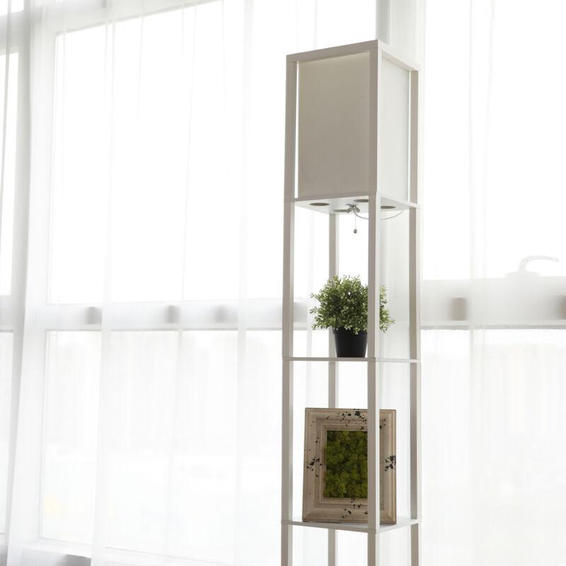 Floor Lamp with Storage Shelves Fabric Shade Minimalist Whit