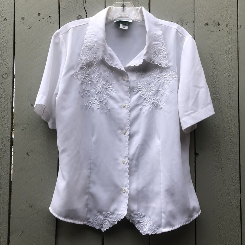 Vintage 80's White Scalloped Embroidered Button Down Blouse, Medium