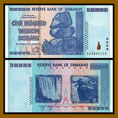Zimbabwe 100 Trillion Dollars Banknote, 2008 AA P-91 New Uncirculated UNC Gem