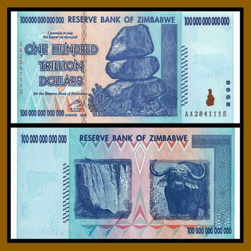 Zimbabwe 100 Trillion Dollars Banknote, 2008 AA P-91 New Uncirculated UNC Gem