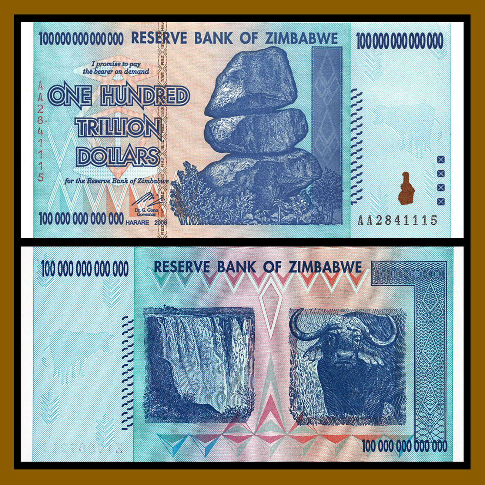 Купить Zimbabwe 100 Trillion Dollars, AA /2008, P-91, UNC, 100 Trillion Series