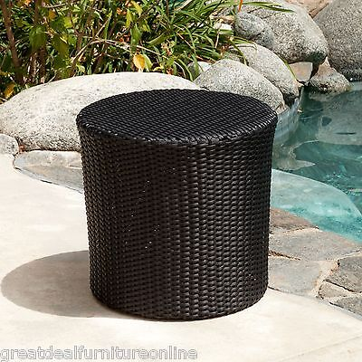 Outdoor Patio Furniture Black PE Wicker Barrel ...