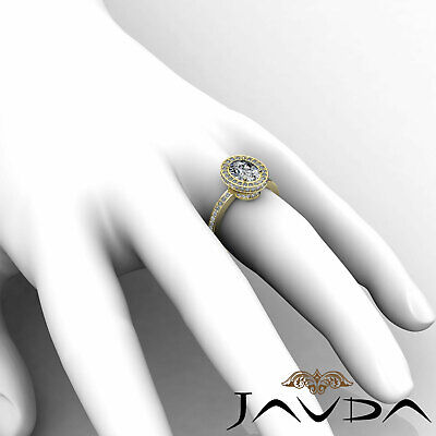 Crown Halo Pave Set Oval Cut Diamond Engagement Ring GIA Certified F VS2 1.82Ct 11