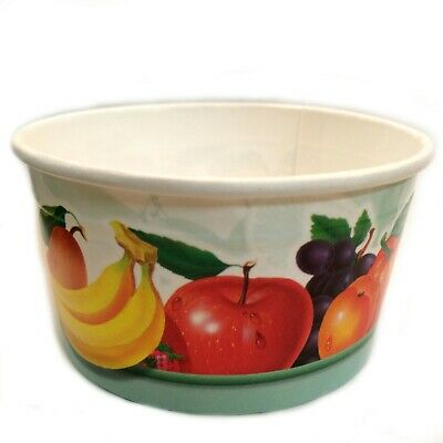 5 oz Disposable Paper Ice Cream CupsTub Bowl Fruit Patterned Party ](Disposable Bowls)