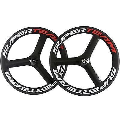 65mm 3 Spoke Wheels Clincher Carbon Wheelset Tubular Tri Spoke Carbon Road Wheel