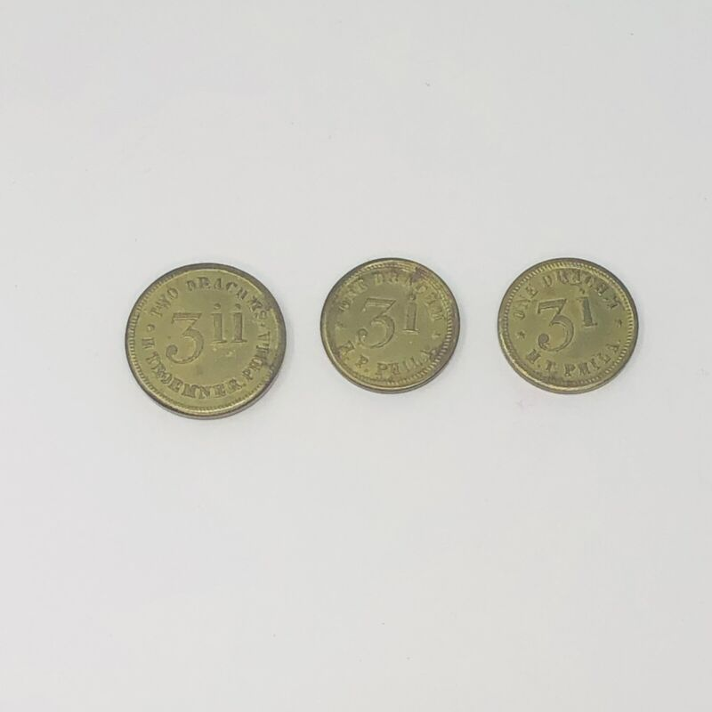 Antique Brass Apothecary Scale Drachms Coin Weights H Troemner Philadelphia USA