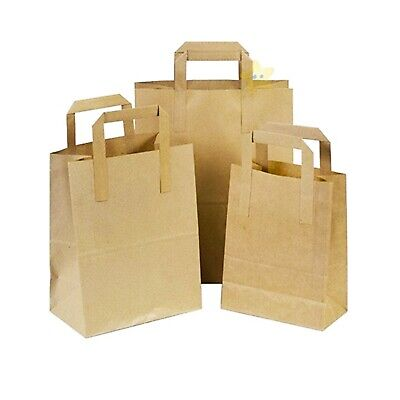 500 LARGE KRAFT PAPER CARRIER SOS BAGS BROWN TAKEAWAY FOOD PARTIES