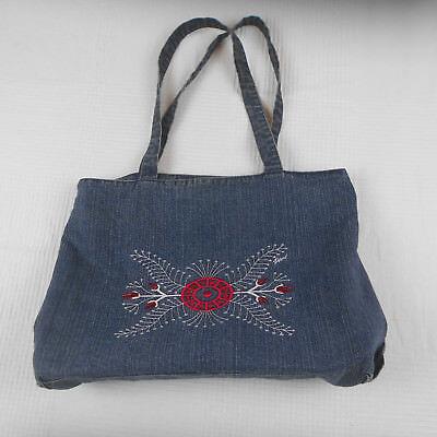 Vivi Brand Denim Embroidered Lined Bag Tote (Denim Lined Tote)