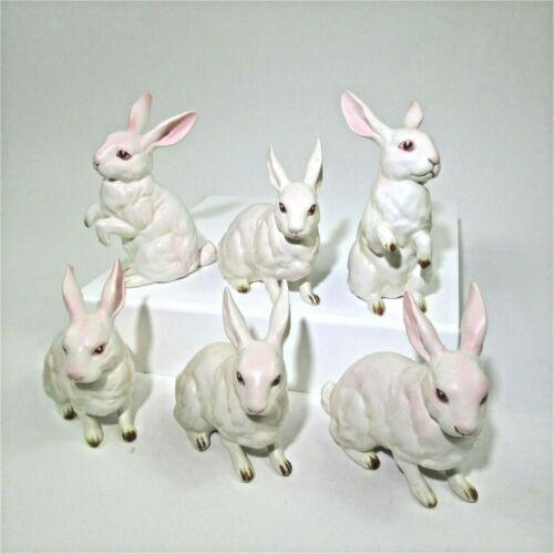 Lot 6 Vintage Lefton White albino Rabbit Bunny Figurines #H880 porcelain EASTER