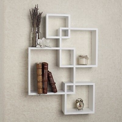 Intersecting Decorative White Wall Mount Cube Shelves-Danya B™
