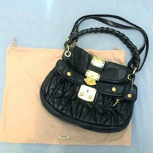 AUTHENTIC Black MIU MIU Matelassé Nappa Leather Hobo Bag Handbag Strathfield Strathfield Area Preview