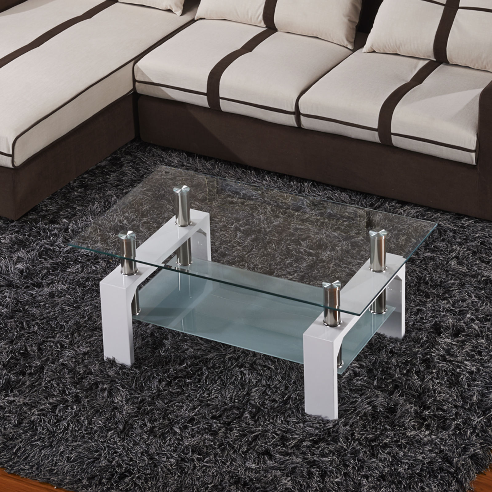 Bn Design High Gloss White And Walnut Coffee Table With 2: High Glass Rectangular Coffee Table White MDF Safety Glass