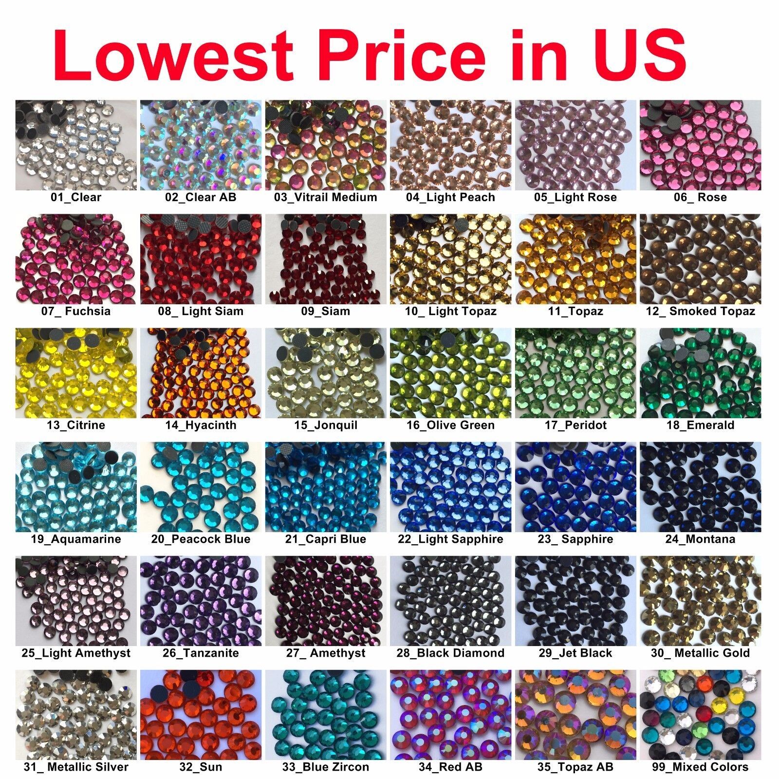 Beads - 1440 pcs DMC Iron On Hotfix Crystal Rhinestones Colors SS6 SS10 SS16 SS20, 2-5mm