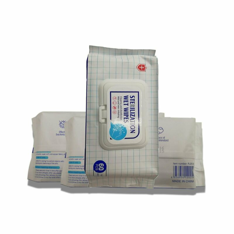 WET WIPES 60 White Non Alcohol Scent Free Antibacterial Safety PPE Wholesale