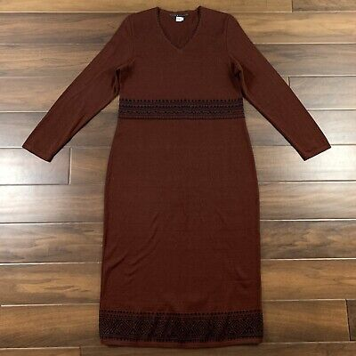 Peruvian Connection Women's Size Medium Midi Maxi Knit Sweater Dress