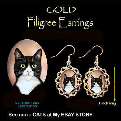 Black And Gold Tuxedo (TUXEDO SHORTHAIR CAT Black and White - GOLD FILIGREE EARRINGS)