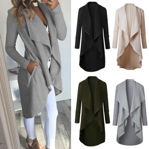 Damen Strickjacke Cardigan Wasserfall Mantel Longshirt Winter Warme Jacke Coat