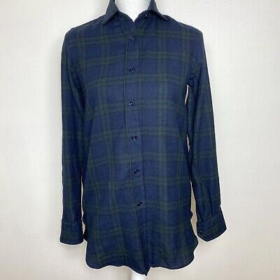 Vintage Salvatore Piccolo Napoli Mens Top Blue Green Flannel Shirt Size Small