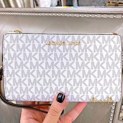 Michael Kors Jet Set Travel Double Zip Wristlet MK Phone Case Wallet Vanilla