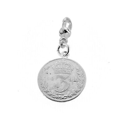 Sterling Silver 1899 Three Pence Coin Pocket watch or Albert Chain Fob Charm