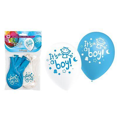 Luftballons zur Geburt It's a Boy 10 Stück in blau und weiß Ø 28 cm Dekoration ()