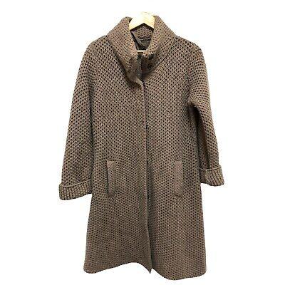 MANTOVANI  STUDIO Wool Cashmere Long Sweater Coat Medium Tan Brown Chunky Knit
