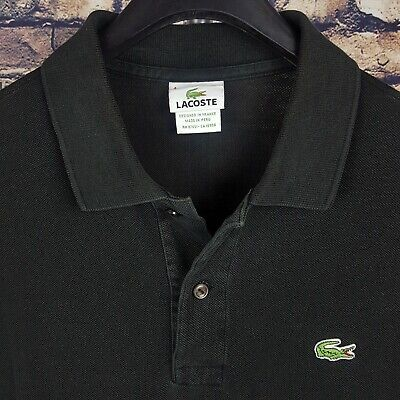 LACOSTE Mens Solid Black Polo Shirt Size 4 Short Sleeve
