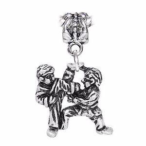 Martial Arts Taekwondo Karate Fighting Dangle Charm for European Bead Bracelets
