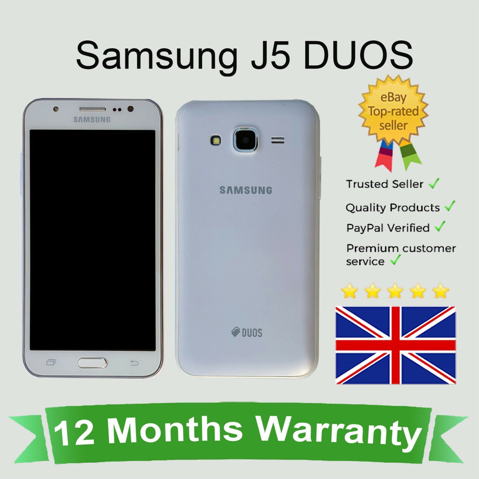 Android Phone - Unlocked Samsung Galaxy J5 / J500 Dual SIM Android Smart Mobile Phone 16GB White