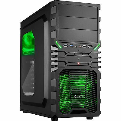 Sharkoon VG4-W GREEN PC Gehäuse Tower ATX Gamer Gaming Midi USB 3.0 Schwarz Grün