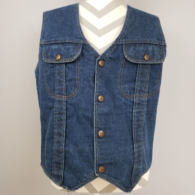 Dee Cee Brand Denim Jean Vest Sz 44 Authentic Western Wear Biker USA Vintage DC