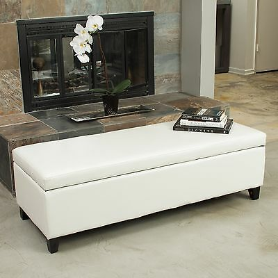 Living Room Ivory Leather Storage Ottoman Bench