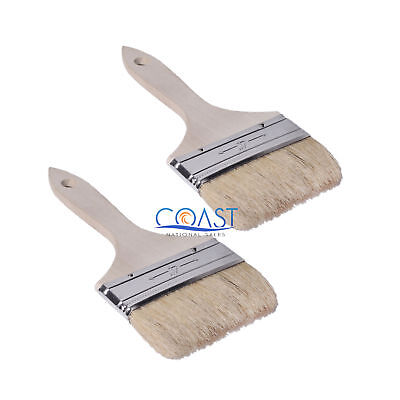 2X Natural Pure White Bristle Chip Brush Paint Brush Wood Handle 4
