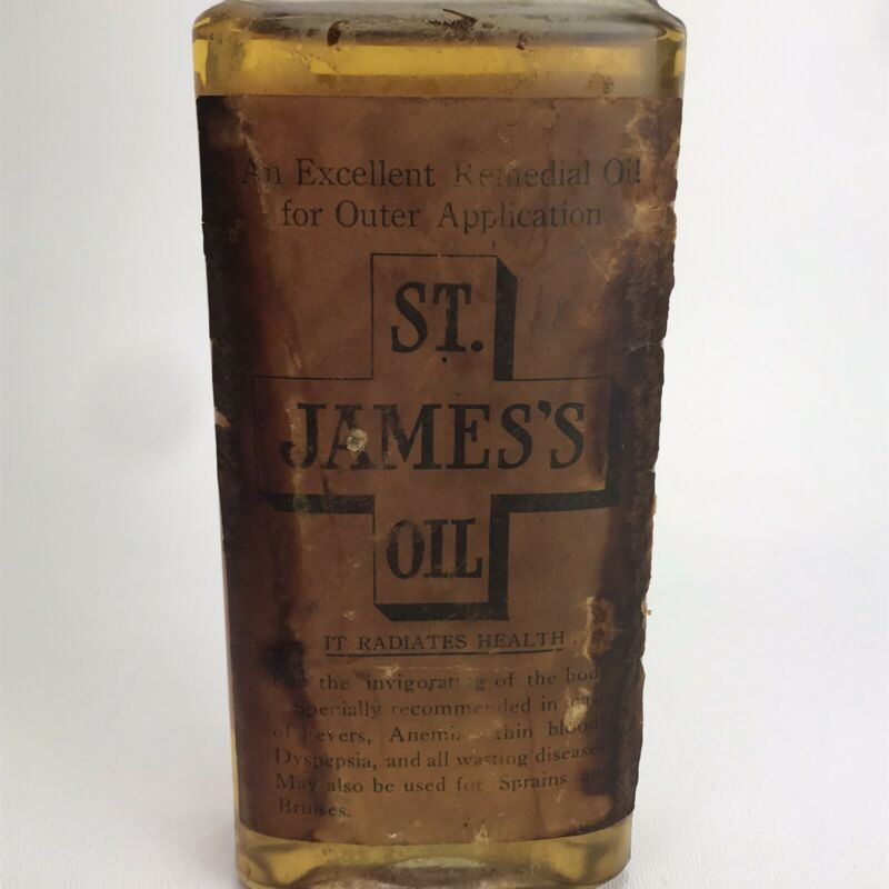 Antique Bottle St James Oil- Snake Oil Herbal Medicine- Carque of Califoria
