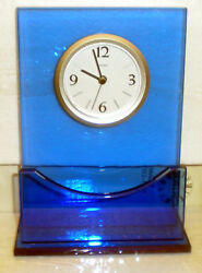 CONTEMPORARY MINERAL GLASS TABLE CLOCK-FLOATING DIAL TCL-1614