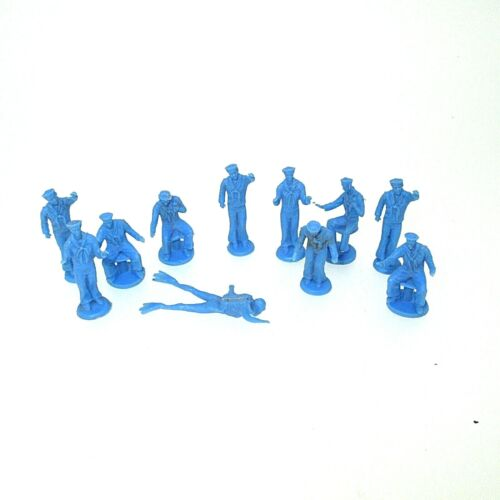 Lot of 11 Blue Plastic USA Navy Sailors Miniature Figures- Modeling