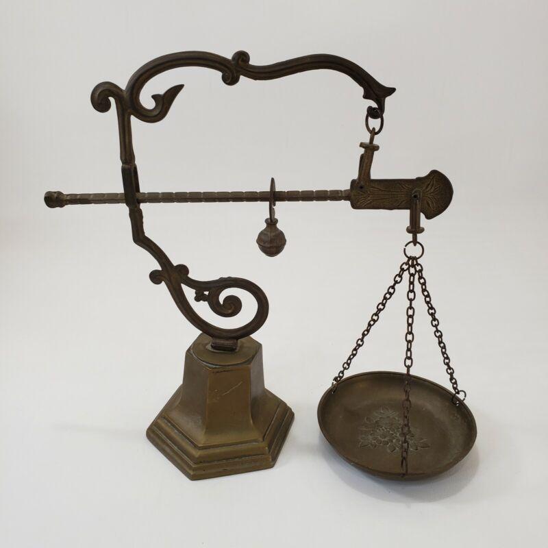 "Decorative Vintage Scale Brass 10.5"" Lever Chain Bowl"