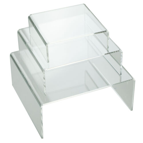 Clear Medium Low Profile Set of 3 Acrylic Risers Display Stands (1 SET)
