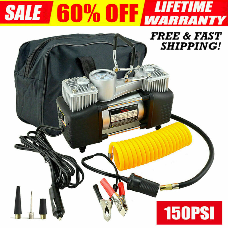 Car Tire Pump HEAVY DUTY Portable Air Compressor Inflator Auto DC 12V 150 PSI