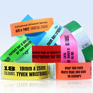 CUSTOM-PRINTED-TYVEK-WRISTBANDS-QUANTITY-100-BANDS-19-or-25mm-WIDTH-18-COLOURS